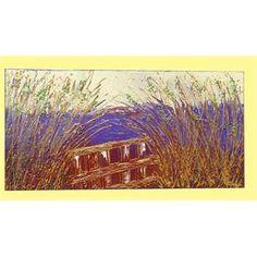 """Quadri Paesaggi Moderni. """"Canneto in viola"""" Un paesaggio quasi surreale è immaginato in questo quadro moderno in rilievo. Il viola come sfondo ad un canneto che lascia intravedere una staccionata. Il quadro è un piccolo paesaggio immaginario."""