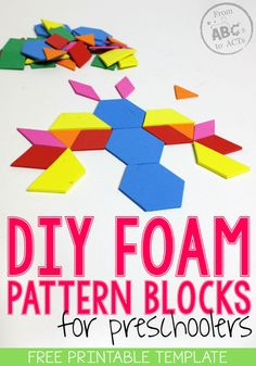 DIY Foam Pattern Blocks for Preschoolers! Save yourself a little bit of money and make your own preschool pattern blocks!