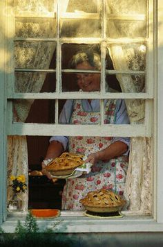 Grandmother Putting Apple Pies on Window Sill Norman Rockwell