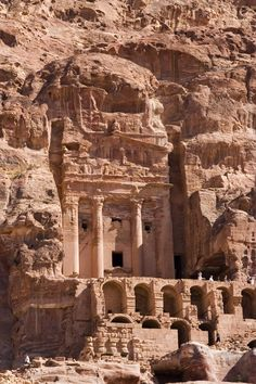 The mysterious lost city of Petra, Jordan which was hidden for centuries. At first it looks like a mirage: rugged sandstone hills seem to melt into windows and doorways, columns and gargoyles. But it is not: all the buildings of Petra, except one, were elaborately carved into the rock hills by a nomadic Arabian tribe in the 6th century B.C. It is a remarkable sight.