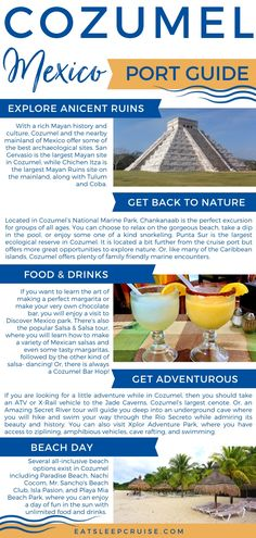 Whether you love beaches, history, or adventure, you need to read our picks for the Best Things to Do in Cozumel on a Cruise for 2020. Gear up for a day filled with visiting ancient ruins, snorkeling, bar hopping, salsa dancing, cenote hopping, sprawling beaches, and plenty of margaritas during your visit to Cozumel, Mexico. #Mexico #Cruise #thingstodo #Cozumel #eatsleepcruise Cruise Excursions, Cruise Destinations, Cruise Travel, Maui Vacation, Mexico Vacation, Mexico Travel, Cozumel Scuba Diving, Snorkeling, Stuff To Do