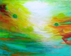 """""""Whimsey,"""" bright, luminous, abstract painting!  https://www.etsy.com/listing/260371458/abstract-art-abstract-painting-painting   #artbysarahhinnant #paintings #art"""