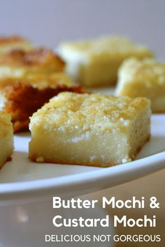 Meet butter mochi and custard mochi. Mochi is a dense, chewy Japanese dessert, but with the addition of butter and milk, it becomes its crispy topped Hawaiian cousin. Asian Desserts, Just Desserts, Delicious Desserts, Yummy Food, Japanese Desserts, Japanese Food, Filipino Desserts, Gourmet Desserts, Plated Desserts