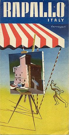 """Rapallo,"" circa 1940 Riviera Ligure , Italy Vintage travel poster #beach #riviera www.varaldocosmetica.it"