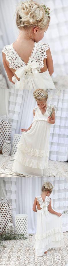 Fashion Lace Flower Girls Dresses, Chiffon Long Flower Girls Dresses, V-neck  Flower Girls Dresses Vintage