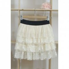 $6.62 New Style Elastic Waist Openwork Lace Embellished Georgette Skirt For Women