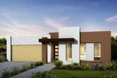 fachada lisa branca e tijolinhos contemporaneo, render