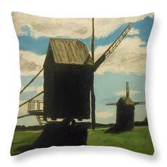 All Throw Pillows - Angla Windmills Saaremaa Estonia Throw Pillow by Rauno  Joks