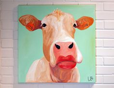 Cow Painting Original Canvas Art  24x24 Square by Logan Berard on Etsy