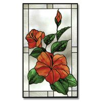 Stained Glass Flower and Leaves Pattern ~ painting on glass