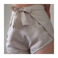 Linen wrap shorts. Waist tie shorts Flax Plant, Short Waist, High Waist, Tie Shorts, Hip Ups, High Cut, Wrap Style, Model, How To Wear
