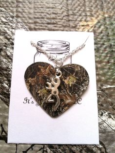 Sterling Silver Guitar Pick necklace, Buck necklace, Camo heart necklace, Deer necklace, For her