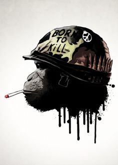 print on metal Movies & TV army military monkey chimp war peace helmet born kill full metal jacket movie digital illustration Monkey Illustration, Digital Illustration, Logo Animal, Full Metal Jacket, Monkey Art, Creation Art, Geniale Tattoos, Poster Prints, Art Prints