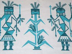 Kachina Corn Maiden Hand Screen printed by Klassyglassandmore