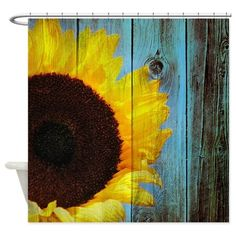 Rustic sunflower teal barn wood shower curtain. A flower design for a country themed bathroom.