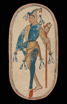 Knave of Nooses, from The Cloisters Playing Cards via The Cloisters Medium: Paper (four layers of pasteboard) with pen and ink, opaque paint, glazes, and applied silver and gold The Cloisters. Medieval World, Medieval Art, Medieval Games, Joker Playing Card, Playing Cards, Clowns, Medieval Jester, All Card Games, Web Design