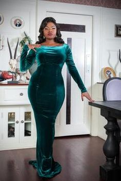 Retro Dresses Laura Byrnes California Beatrix Gown in Emerald Green Velvet Full Length Gowns, Floor Length Gown, Green Velvet Dress, Velvet Dresses, Velvet Gown, Emerald Green Dresses, Emerald Green Wedding Dress, Emerald Gown, Pinup Girl Clothing