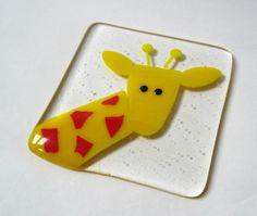 Giraffe coaster fused glass coaster drinks mat fused glass