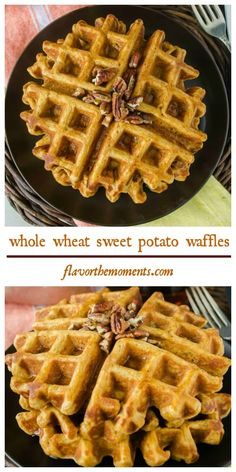 Whole Wheat Sweet Potato Waffles - healthy & delicious breakfast! flavorthemoments.com