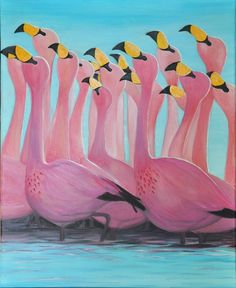 "Title: ""James' Flamingos like to dance"", by Sab Ken - oil on canvas Jewelry Art, Oil On Canvas, Dance, Creative, Outdoor Decor, Painting, Furniture, Home Decor, Dancing"