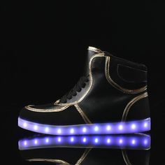 #blackledshoes #hightopledshoes #lightupshoes #ledshoes #remotecontrolledshoes. Choose adults black led shoes for a new look. You can shop black high-top led light up shoes with remote control.