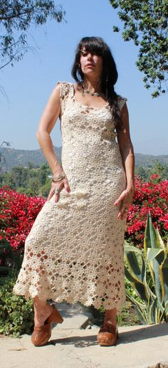 Romantic Bohemian Vintage Crochet Lace Maxi by GoldDustDresses, $165.00