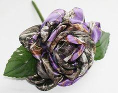 Purple Camouflage Rose - Camo Bridal Bouquet - Camo Rose - Satin Camo Rose - Camo Wedding