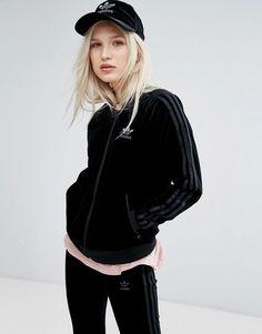 adidas Originals Velvet Vibes Bomber Jacket In Black - Black