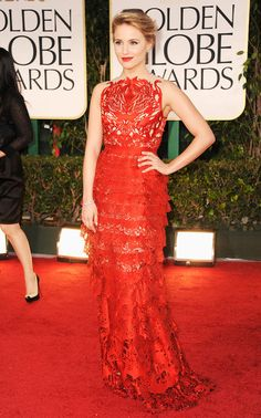 Dianna Agron in Giles Deacon at 2012 Golden Globes