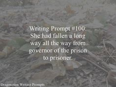 Writing Prompt #100: She had fallen a long way all the way from governor of the prison to prisoner.