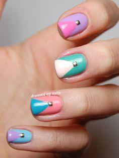 Cute Easter Nail Art and Nail Designs - iVillage Studded Chevron Nails Love Nails, Fun Nails, Pretty Nails, Chevron Nails, Nail Polish Designs, Nail Art Designs, Nailart, Easter Nail Art, Geometric Nail Art