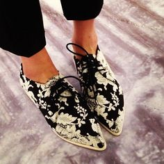 floral oxfords trainers sneaks sneakers shoes boots black and white