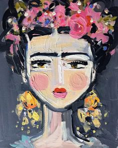 A personal favorite from my Etsy shop https://www.etsy.com/listing/290021961/frida-kahlo-print-roses-pretty-portrait