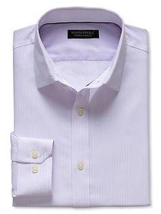 Classic-Fit Non-Iron Purple Micro-Stripe Shirt
