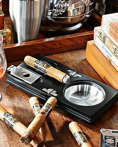 Tommy Bahama - Folding Cigar ashtray with tools in Wood.......nice.