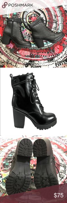 "Ziginy Kourtlan ankle boot! These boots amp up the edgy look!!  They feature a lace up vamp, side zipper, and grip sole.  You could totally rock these on a glamping trip!!!  Shaft is approx. 4 1/2"" high and heels are 2 1/2"" with a .25"" platform.  02211111216   NIB Ziginy Shoes Ankle Boots & Booties"