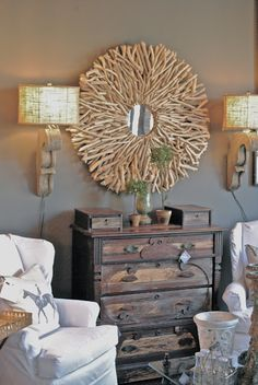 love those wall sconces!!!  and that dresser... oh my!
