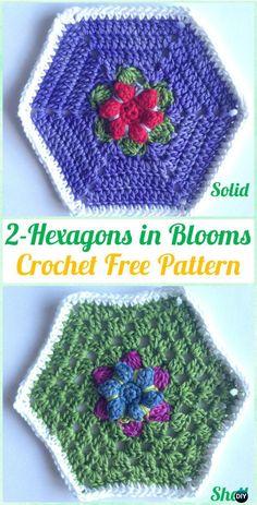 Crochet Hexagon in Bloom Motif Free Pattern - #Crochet Hexagon Motif Free Patterns