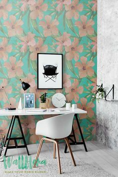 Hibiscus Wallpaper Pattern Removable Wallpaper by WallfloraShop