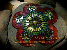 Flower Power - www.facebook.com/mosaicrocks by Liz Tonkin Kuranda Queensland Australia