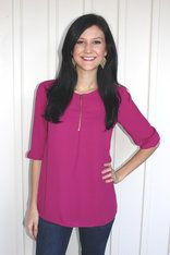 1/4 Zip Flowy TopRadiant Orchid, the color of the year! Lively and vibrant, just like you! This top is cute and comfortable and can be worn for almost any occassion. The zipper detail allows you to go from work to date night in just a quick zip! White Barn Boutique