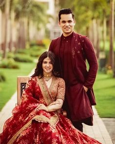 We're Heart-eyes for this Bride who Bloomed in a Raspberry Red Floral Lehenga Indian Bridal Outfits, Indian Bridal Fashion, Indian Bridal Wear, Indian Dresses, Engagement Dress For Bride, Engagement Outfits, Indian Wedding Couple Photography, Wedding Couple Poses, Couple Shoot