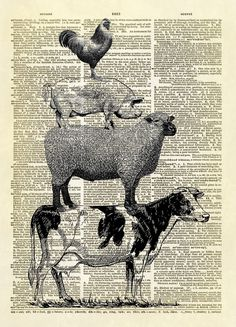 """This is our exclusive print, designed by us, featuring four farm animals stacked upon each other. Remember the """"Town Musicians of Bremen"""" folktale by the Brothers Grimm? This fun and whimsical print w"""