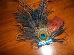 peacock feather hair clip with green and by ladybugladyjjjsalon, $37.10