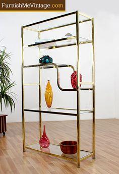Mid century modern gold etagere $299