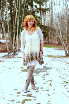 Lace Slip Dress & OTK Boots: Easy To Please