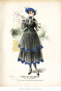 1916 Fashion illustration - great transition image from long, graceful to short, handkerchief hems, shorter bodice
