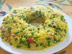 Anello di riso con piselli e prosciutto cotto