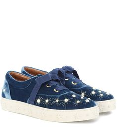 AQUAZZURA - Embellished velvet sneakers - Aquazzura puts a decorated spin on the sneaker with this faux-pearl adorned pair. Crafted in Italy from plush blue velvet, this style has a chunky star-embossed sole and pretty ribbon laces. - @ www.mytheresa.com