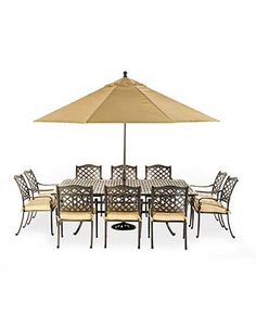 "chateau outdoor cast aluminum 11-pc. dining set (84"" x 60"" dining"
